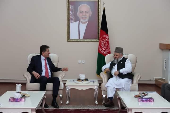 وزیر ارشاد حج و اوقاف حین اقامت شان در عشق آباد با سفیر فلسطین ملاقات نمودند